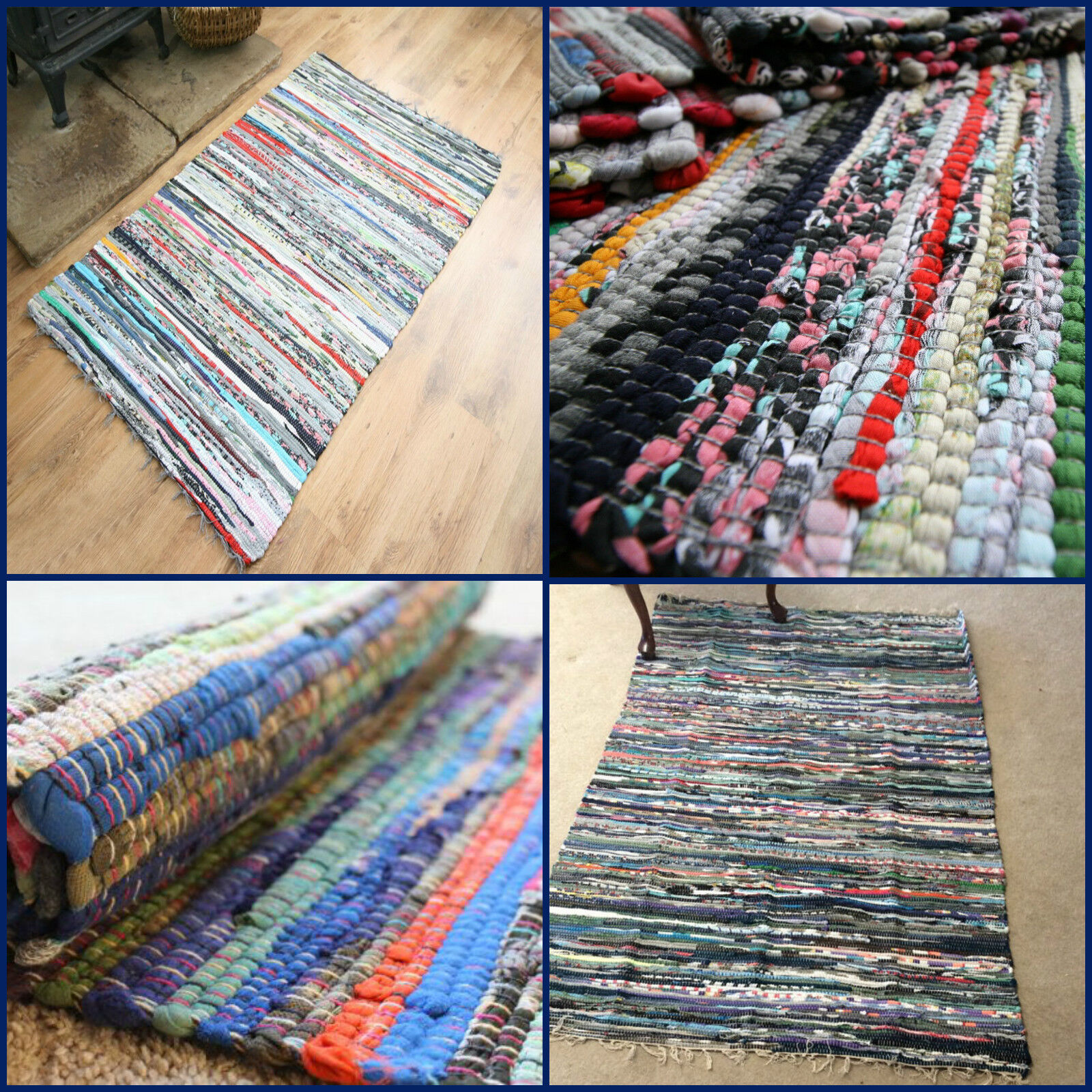 Large Rag Rugs For Sale Uk: Handmade Vintage Colorful Rag Rug Fair Trade Chindi
