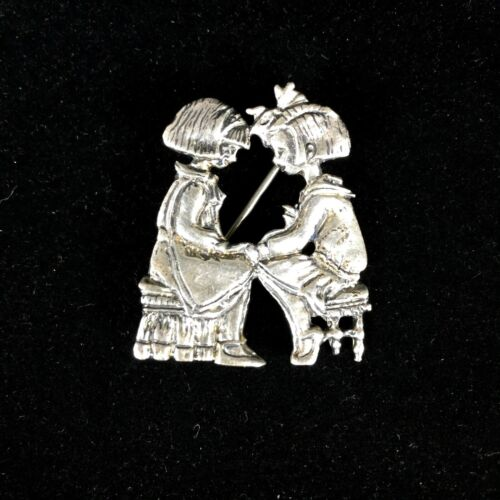 Sterling Silver ME INK Brooch Two Children Mary Engelbreit Girls Praying Mexico