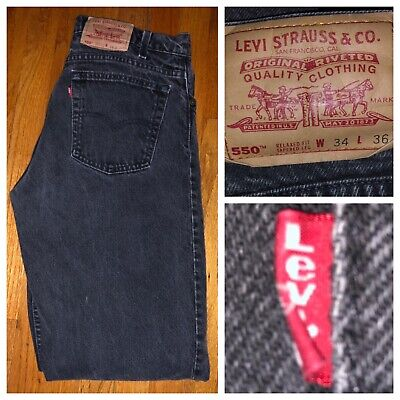 - Vtg Levi's 550 Red Tab Relaxed Fit Tapered Black Men's Denim Jeans 34 X 35