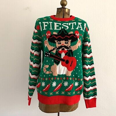 Party Christmas Sweater Fiesta Cat Mariachi Ugly Tacky Holiday Musical Size M ()