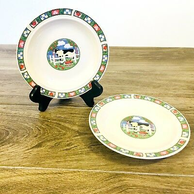 Gibson Houseware China  Saucers/Plate Barnyard Featuring Black And White Cow 2 Black And White China