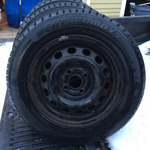 Four 185 65 14 Studded Snow Tires