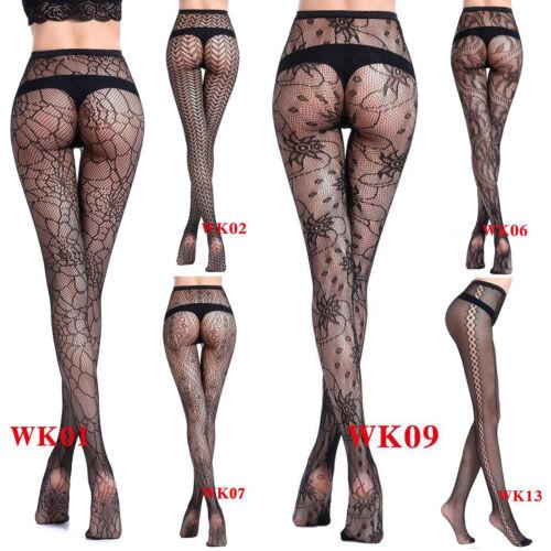 Damen Sexy Lace Fishnet Hollow gemusterte Strumpfhosen Strumpf Dessous schwarz