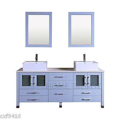 "72"" Double vesse Sink Bathroom Vanity grey blue cabinet with mirrors & faucet 37"
