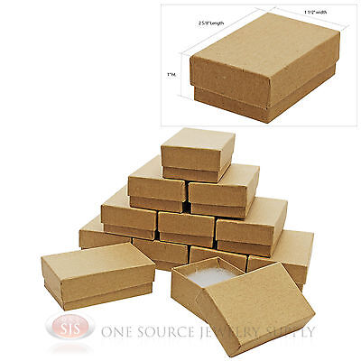 "12 Brown Kraft Cotton Filled Jewelry Gift Boxes Charm Ring Box  2 5/8"" X 1 1/2"""
