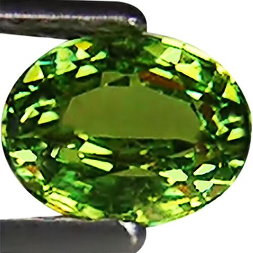 0.63 Ct GHI Certified Natural Demantoid Garnet Yellowish Green Color Oval Cut