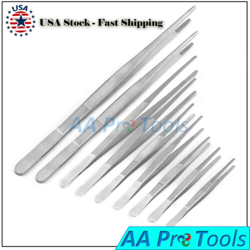 Long Food Tongs Straight Tweezers Kitchen Serrated Tips Stainless Steel (PICK)