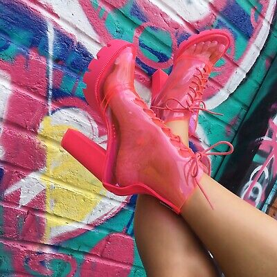 Cape Robbin CYBIL Neon Pink Clear Lace Up Lug Platform Chunky Block Heel Bootie (Clear Platform Boots)