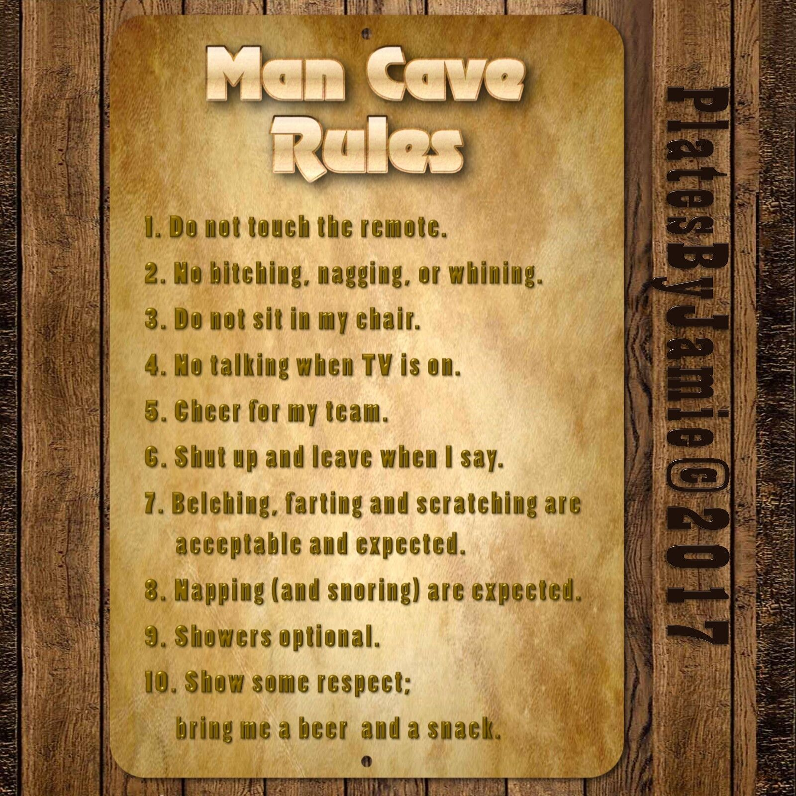 MAN CAVE RULES FUNNY NOVELTY SIGN WALL PLAQUE ART DECOR 12\' x 8 ...