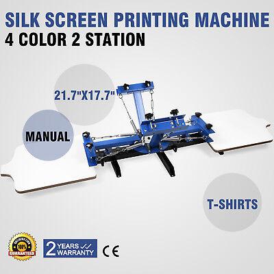 4 Color Silk Screen Printing Machine 2 Station Press Printer T-Shirt Equipment