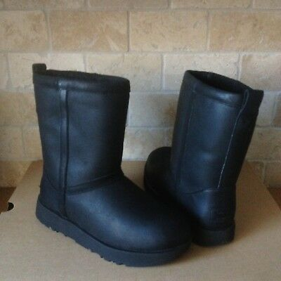 UGG Classic Short Black Waterproof Leather Sheepskin Boots Size US 8 Womens NEW