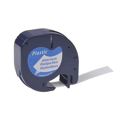 1pk Plastic Label Tape For Dymo Letra Tag Lt100t Lt91331 Black On White 12mm