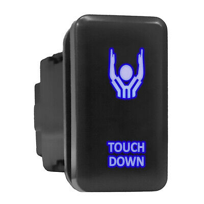 Touch Down Blue Led Backlit Switch Tall Push Button 1.54x 0.83 Fit Toyota