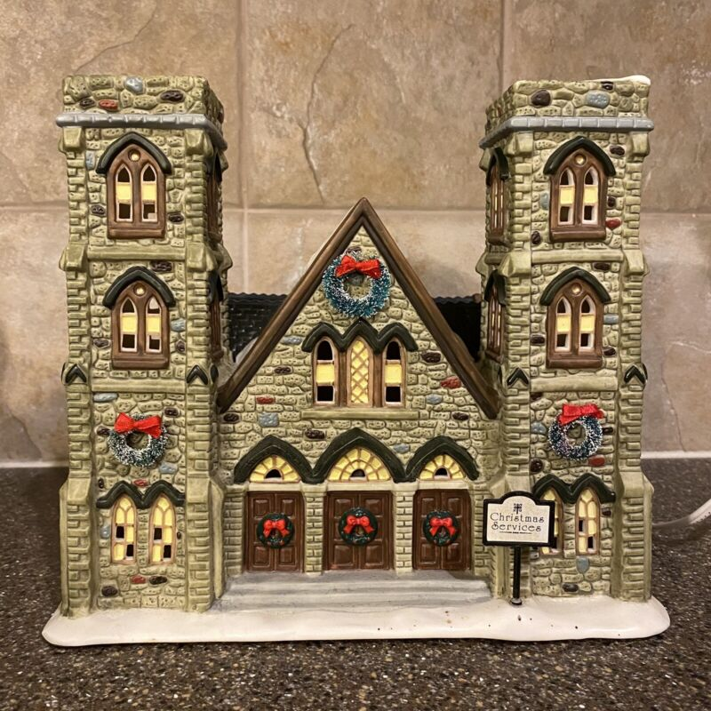 St. Nicholas Square Christmas Village Cathedral Of Peace Ceramic Lighted Church