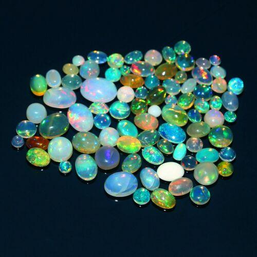 85 Pcs Natural Ethiopian Fire Opal Crack Pcs Mix Shape Cabochon Loose Gemstone#4