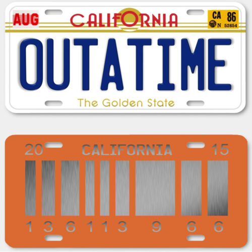 Back to the Future Delorean OUTATIME LICENSE PLATE BTTF COLLECTORS SET of 2