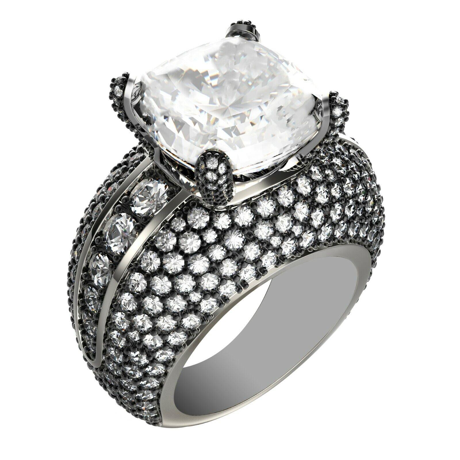 GIA Certified Diamond Engagement Ring Platinum 9.05 Carat total Cushion Cut