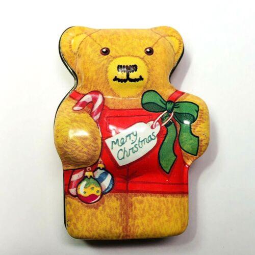 Dana Kubick Hunky Dory Christmas Girl Bear Tin Collectible England 2.5in