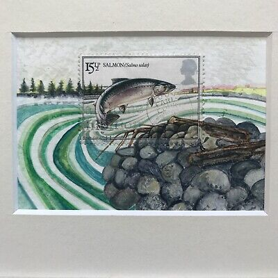 salmon fish, orignal aceo painting, Philately gift, Postage stamp art fish stamp