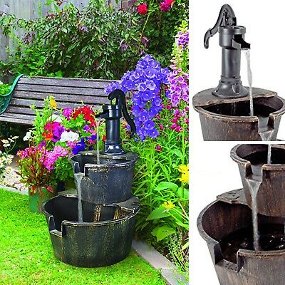 NEW 2 Tier Bronze Barrel Water Fountain Pump Garden Feature Bucket Patio Outdoor