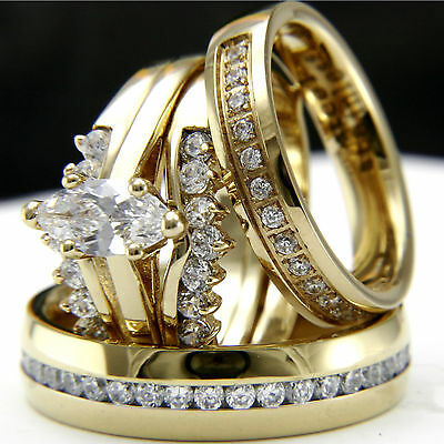 Gold tone 0.9Ct CZ solitaire engagement woman's wedding & man's bridal ring set