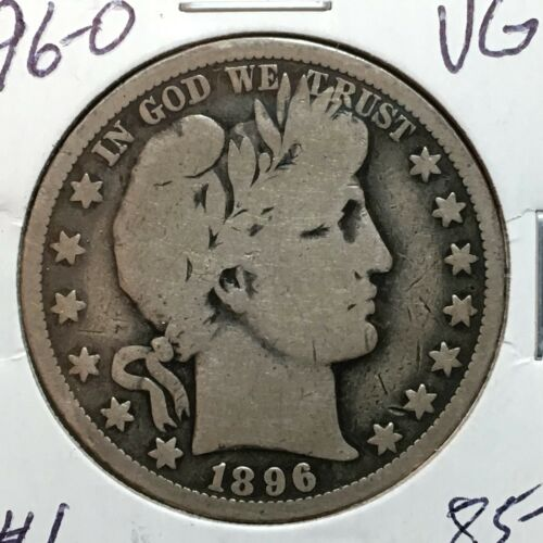 1896-O   VG   Barber Half Dollar  LY and part IT  #1