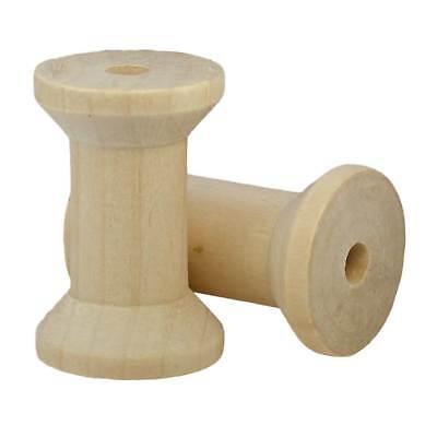 5 Holzspulen 47x31mm Bohrung 7mm, leeren Spulen Draht Fadenspulen, rauchig natur