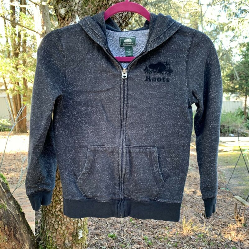 Roots Kids Zip Up Hoodie Sweatshirt Canada Leaf Sweater Heathered Black Sz L