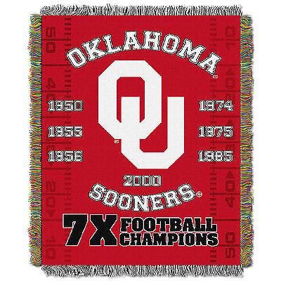 "Oklahoma OU Sooners Commemorative NCAA 48""x60"" Woven Tapestry Throw Blanket"