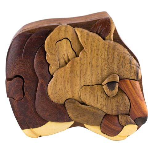 Wood Intarsia Cougar Mt Lion Puzzle Box - Secret Trinket Box Inside! Handcrafted