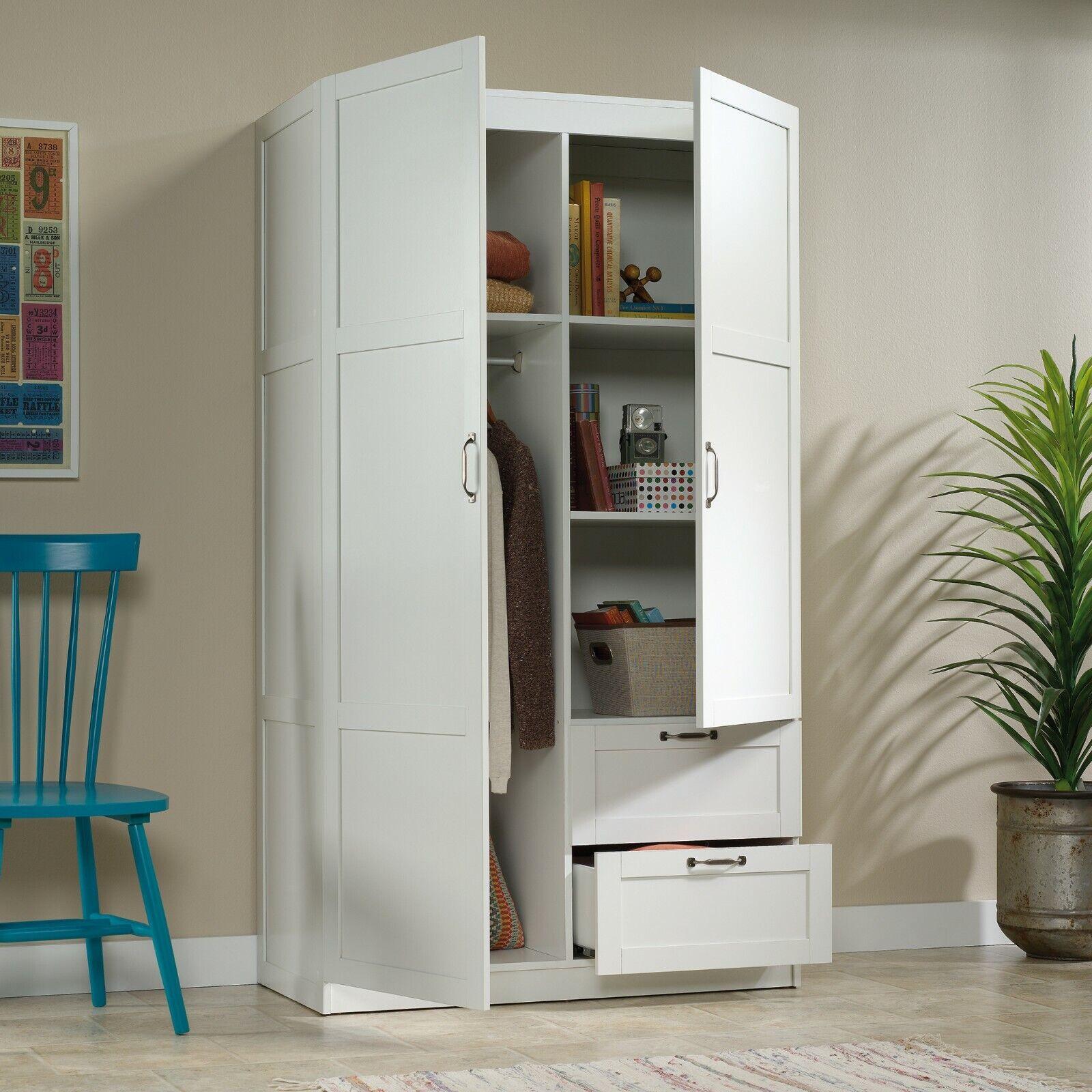 Large White Armoire Wardrobe Storage Closet With Drawers ...