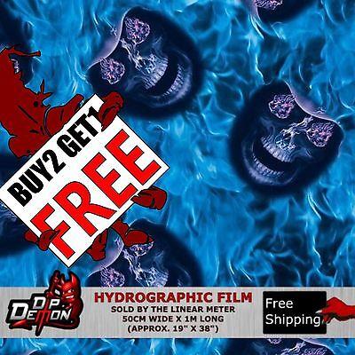 Lm Blue Cowboy Skulls Hydrographic Water Transfer Film Hydro Dipping Dip Demon