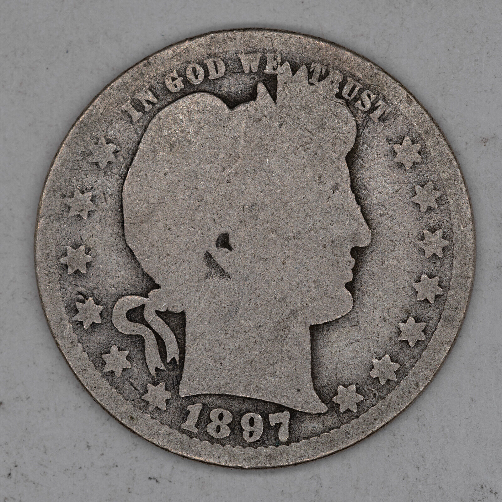 1897 O BARBER QUARTER 25C SILVER AG ABOUT GOOD 2677  - $19.99