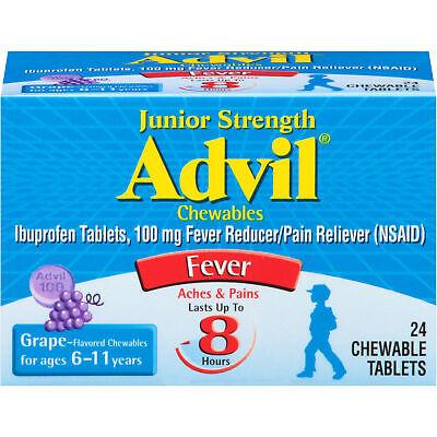 Advil Junior Strength, Chewable Tablets, Grape, 24 Count Each