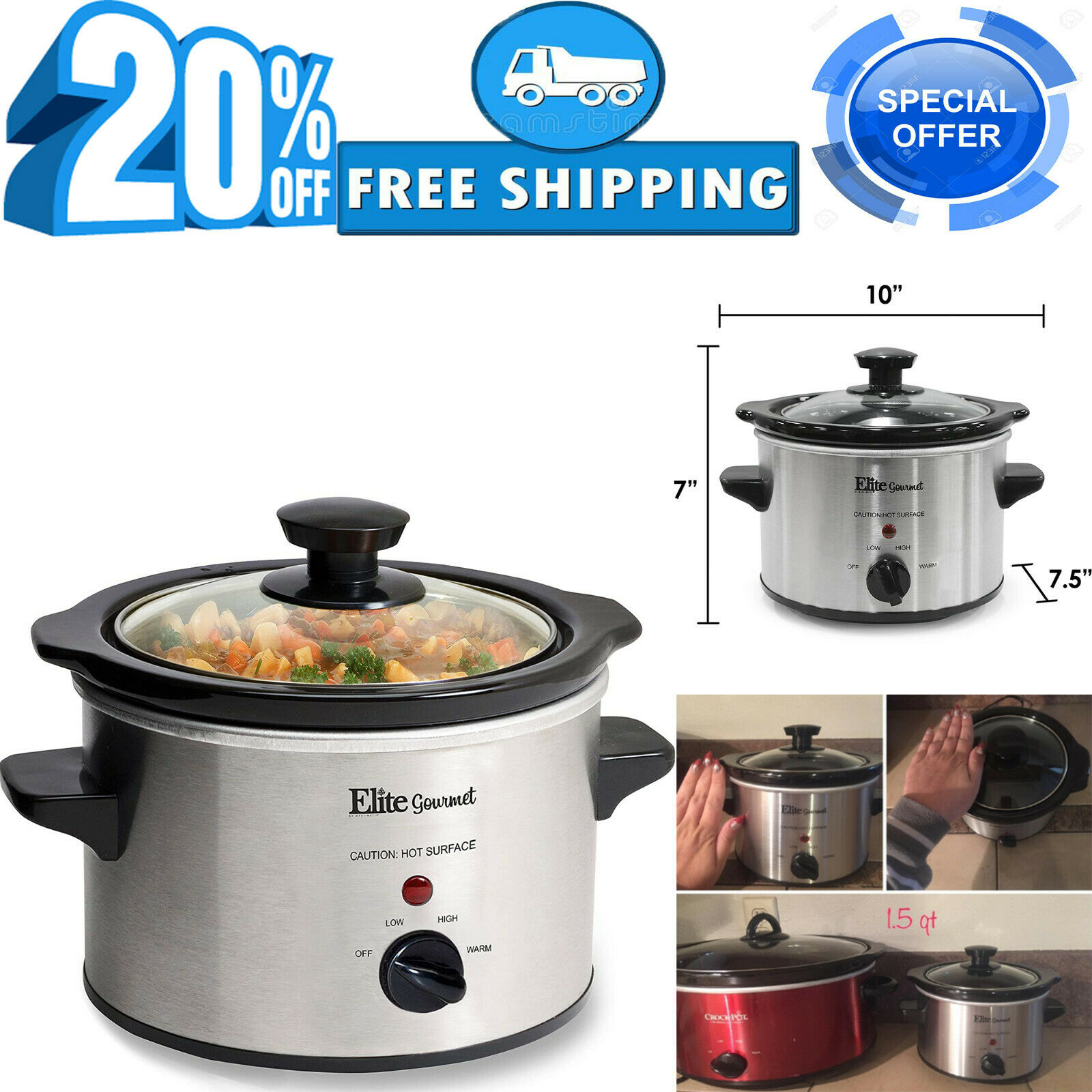 5Small Slow Cooker Stainless Steel Crock Pot Mini Kitchen Appliance Portable 1.5