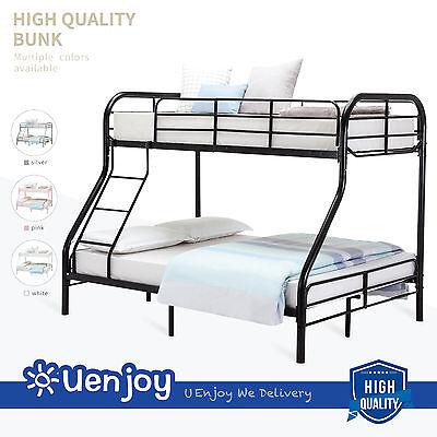 (Metal Bunk Beds Twin over Full Size Ladder Kid Teen Dorm Loft Bedroom Furniture)