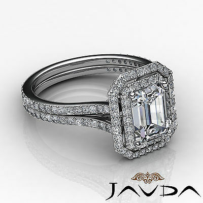 Double Halo Pave Split Shank Emerald Diamond Engagement Ring GIA H VS2 2.6 Ct 2