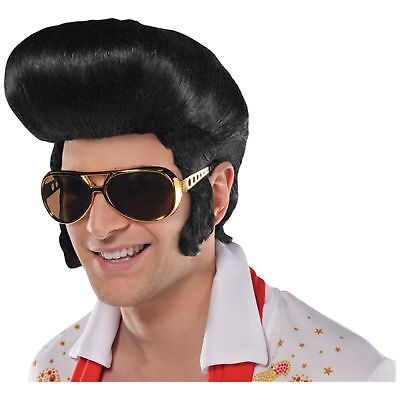 50's 1950s Classic The King Elvis Quiff Wig Adult Mens Fancy Dress - 1950 Wig
