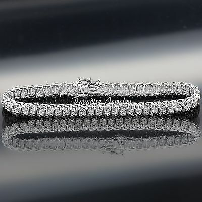 Genuine 1.50 CT Diamond 14K White Gold Finish Tennis S-Link Bracelet, 7.5 Inches