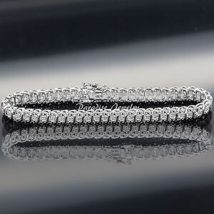 Gorgeous Ladies Genuine 1.50 CTW Diamond 14K White Gold Finish Tennis Bracelet