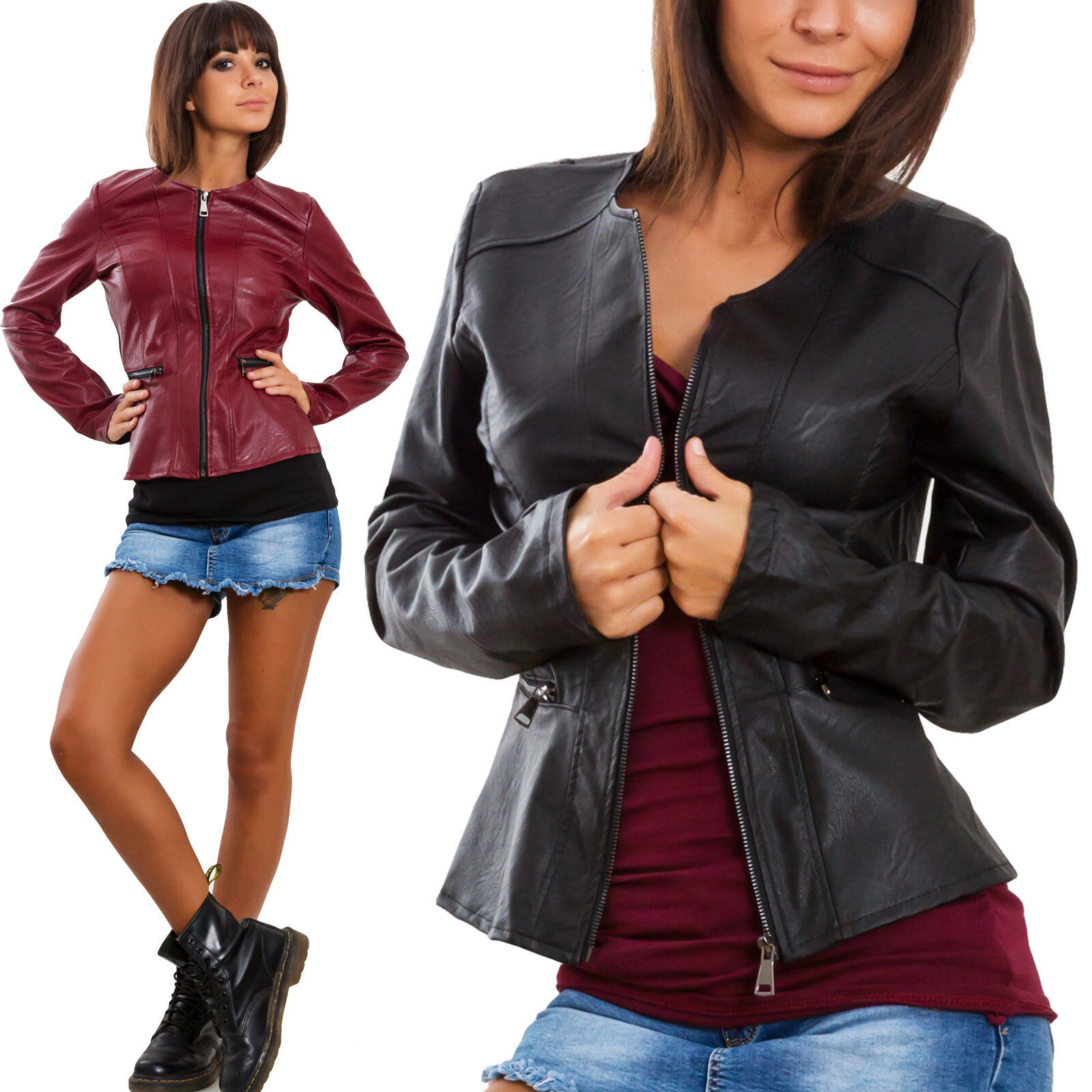 9c7c138705 Dettagli su Giacca donna ecopelle pelle cerniera zip avvitata giacchetto  giubbino VB-0213