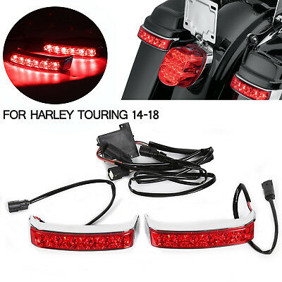 LED Saddle bag Run/Brake/Turn Lamp Light Chrome Housing Red Len fit Harley 14-18 for sale  China