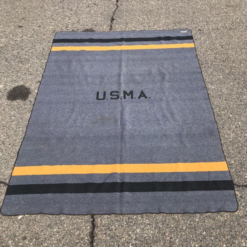 Vtg 1950s USMA West Point Cadet Army Military Grey Black Gold Wool Blanket 61x85