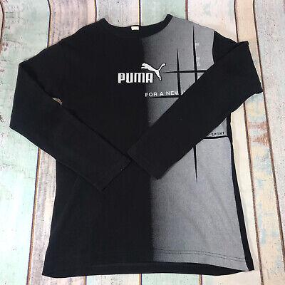 Puma Long Sleeve T Shirt Top Sweatsuit Black Spell Out Logo Sport
