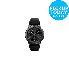 Samsung Gear S3 Frontier Dark Grey Case Smart Watch - Black Silicon Band.