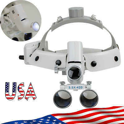 Us Dental Binocular Loupes Surgical Glass Magnifierled Headlight 3.5x 280-380mm