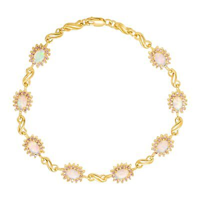 1 1/2 ct Created Opal & Pink Sapphire Bracelet, 14K Gold-Plated Sterling Silver