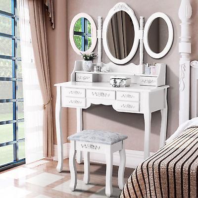 White Tri-Folding Mirror Vanity Set 7 Drawers Dressing Table Makeup Desk & Stool](Mirror Table)