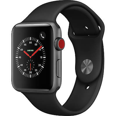 Apple Watch Gen 3 Series 3 Cell 42mm Space Gray Aluminum Black Sport Band