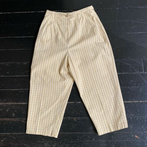 VTG 1950s WHITE STAG Tan Plaid Side Zip Capri Peddle Pusher Cropped Jax Pants XS